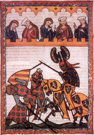 Knights Jousting in a medieval manuscript.